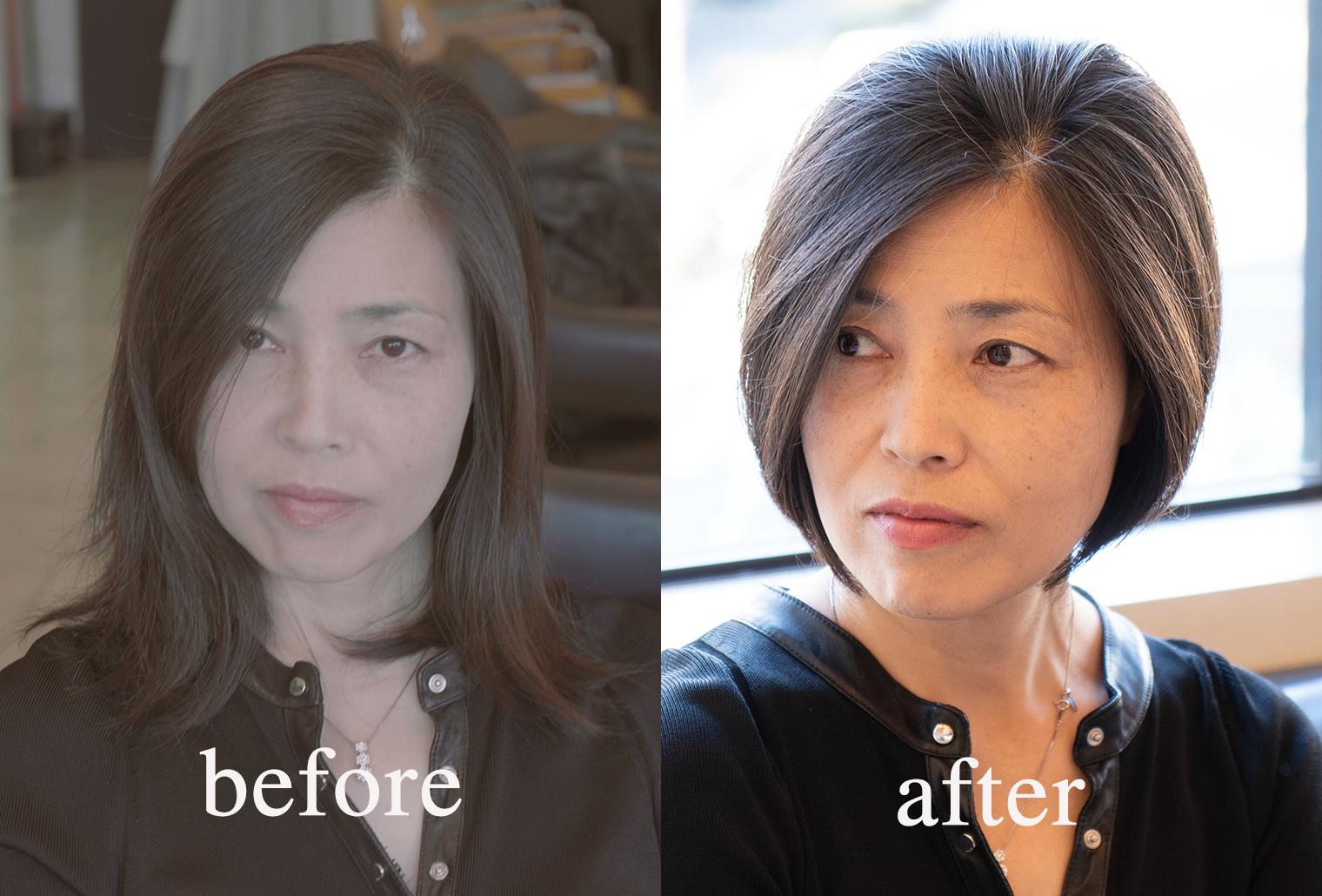 40代髪型前下がりのグラデーションボブビフォアアフター動画